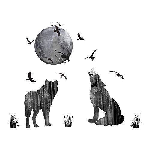 WandSticker4U- Wandtattoo WOLF Familie aus dem Wald | Wandbilder: 70x85 cm | Wandsticker Mond Vögel Wald-tiere Wandaufkleber | Deko für Wohnzimmer Gästezimmer Küche Garderobe Flur