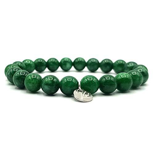 KARDINAL.WEIST Pulsera de Cuentas de Jade Verde, Piedra Preciosa Protectora para Mujeres y Hombres, Brazalete de Yoga, joyería de energía (Verde Oscuro)