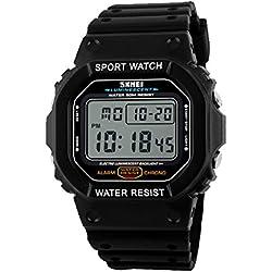 Kreativ Sportuhr Kalender Alarm Leuchtuhr Multifunktional Im Freien Herren Armbanduhr, Weiß