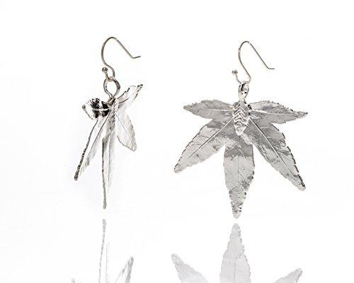 Foglia naturale Ana Morales da Donna Orecchini Foglio acero giapponese placcato argento 925 Lunghezza ca 55-60mm