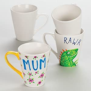 Baker Ross Design Your Own Large Contemporary Porcelain Mugs (Pack Of 4) For Kids To Decorate