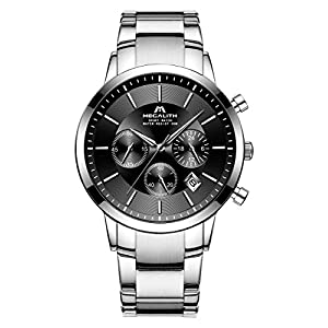 Mens Watches Men Chronograph Waterproof Sport Stainless Steel Silver Wrist Watch Luxury Business Date Calendar Watches for Men