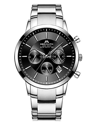 Herren Uhren Männer Wasserdicht Chronographen Sport Silber Edelstahl Armbanduhr Mann Luxus Business Datum Kalender Analoge Quarz Uhr