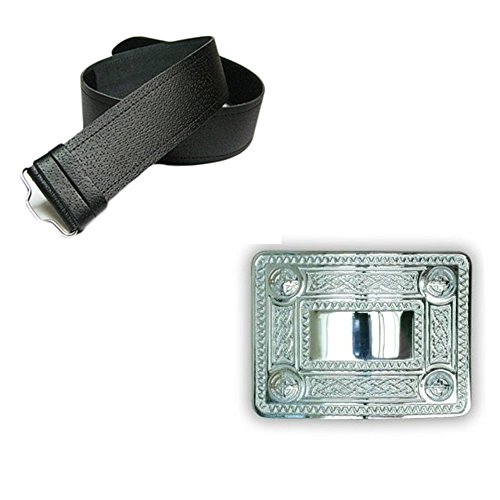 New Leather Man Fine Grain Belt Kilt & Chrome Knot Celtic Buckle - Choose Size - Black, Large (36-46 In)