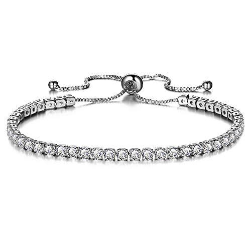 Qiuday Damen Stretcharmbänder Silber Armband mit Herz Anhängern in Rosegold | Hauchzarte Armkette aus Titan nickelfrei Mode Zirkonia verstellbare Armband und Armreif für Frauen Hochzeit Schmuck
