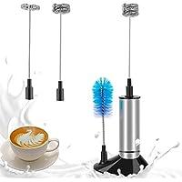 Linkax Milchaufschäumer Elektrisch Milchschäumer Manuell milchaufschäumer Batteriebetrieben mit Drei Quirl und Bürste Edelstahl Metall Milk Frother für Kaffee, Latte, Cappuccino
