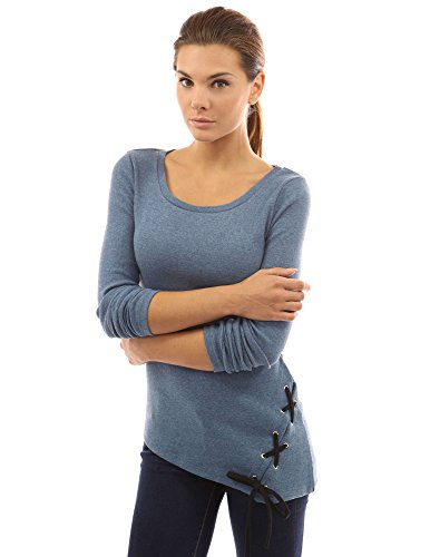 PattyBoutik femmes encolure côtelé haut bas ourlet tunique Heather bleu