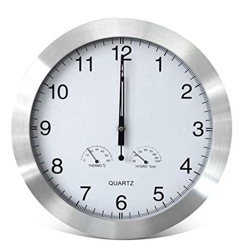 Horloge Silencieux Murale 14 Pouces Maison Moderne Salon Chambre Creative Quartz De Table Température Et Humidité Fonction Murale (Couleur : A)