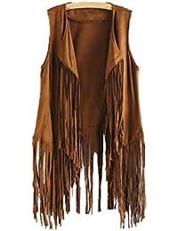 DEELIN Femmes Automne Hiver Mode Faux Daim Ethnique Style sans Manches  Glands Veste À Franges Gilet Manteaux Tops Cardigan… 4e7400b1d623