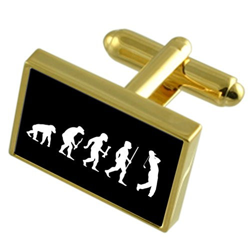 Evolution Affen zum Menschen Golf Gold-Manschettenknöpfe Gravur Box (Classic Golf Premier)