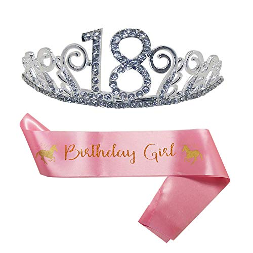 ionsset zum 18. Geburtstag, Tiara und niedliches Einhorn, rosa Satinschärpe, Happy 18th Birthday Party Supplies, Crystal Tiara Birthday Crown (Tiara + Schärpe) ()