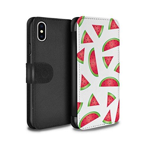 Stuff4 Coque/Etui/Housse Cuir PU Case/Cover pour Apple iPhone X/10 / Ananas Design / Morceaux Nourriture Collection Pastèque