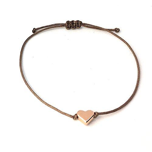 Herz Armband Roségold - Braunes Armband Textil mit rosegoldenem Herz - Größenverstellbar - HANDMADE