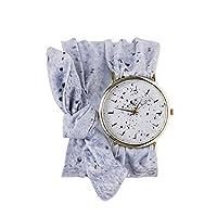 Souarts Unisex Printing Scarf Bow Cloth Band No Number Scale Dial Wrist Quartz Analog Watch 72cm