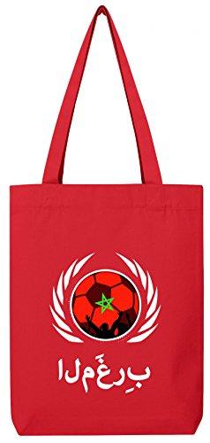 Marocco Campionati Mondiali Di Calcio Wm In Cotone Organico Tote Bag Iuta Borsa Stanley Stella Football Marocchino Rosso