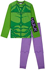 Marvel Pijama Niño, Pijama Niño Invierno El Increible Hulk, Conjunto 2 Piezas Camiseta Manga Larga y Pantalon,