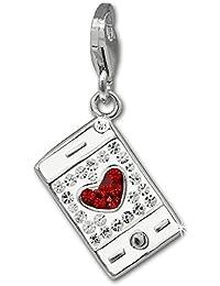 SilberDream scintillement bijoux - Charm téléphone portable blanc - Femme - Argent 925/1000 - tchèques cristaux Preciosa - scintillement Charms - GSC577W