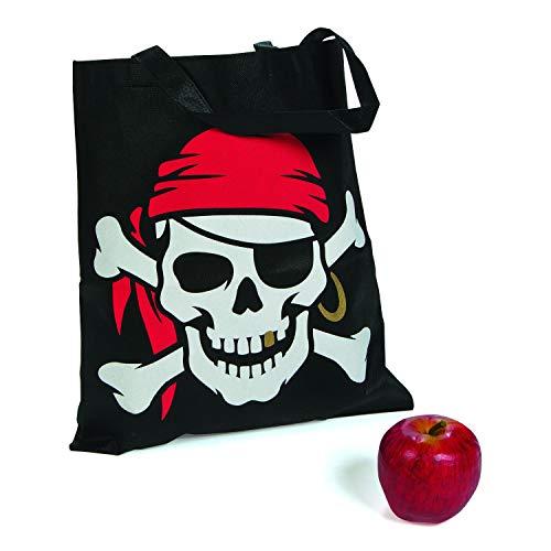 cama24com Kinder Piraten Party Halloween Sammelbeutel Totenkopf 12 Stück Mitgebsel mit Palandi® Sticker