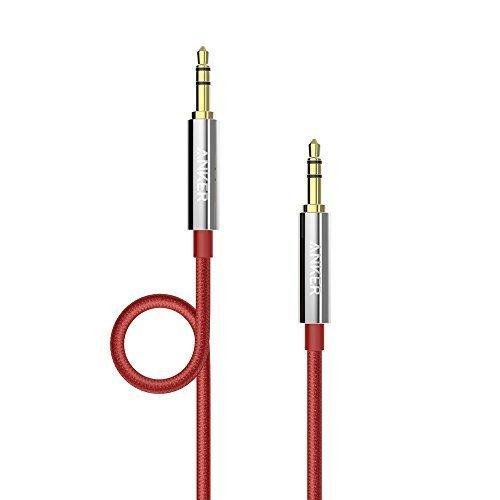 Anker Cavo Audio Stereo Nylon Maschio su Maschio, AUX Anti-Groviglio per Cuffie, iPod, iPhone, iPad, Impianto-Stereo da Casa / Auto a Altro, Slim 3.5 mm (1.20 m), Rosso