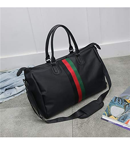 �handel schwarz gerührt Nylon Sport Sporttasche Männer wasserdicht Travel Duffel Fitness Taschen für Frauen mit Schuhfach, rot grün Streifen ()