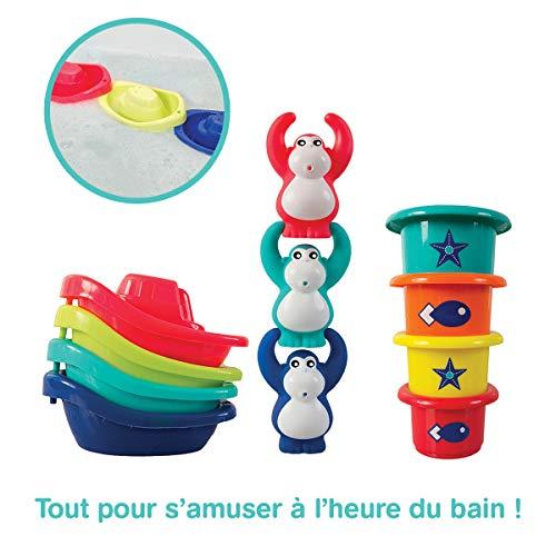LUDI - Coffret de jeu d'eau pour s'amuser à l'heure du bain. Dès 10 mois. 3 gorilles rigolos qui aspergent, 4 bateaux et 4 verres gigognes percés. Une aide au développement de la dextérité - 40028