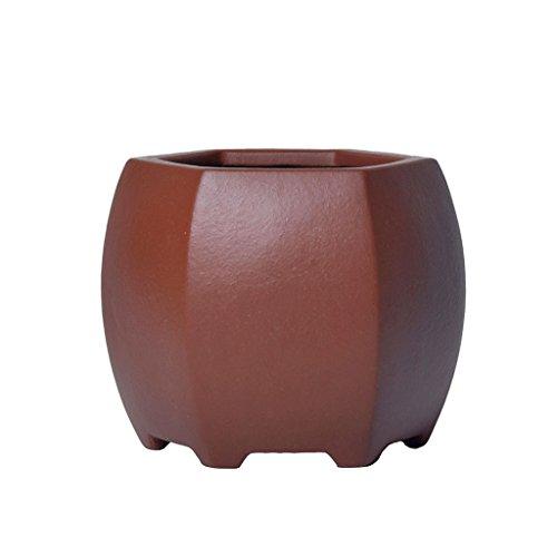 Unbekannt BOBE Shop Kleine Chinesische Lila Sand Keramik Blumentopf Desktop Sukkulenten Topf Mit Loch 11 * 11 * 9 cm -