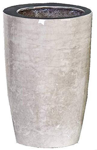 Design-Vase/Sektkühler Silent aus Aluminium · weiß in Marmor-Optik Höhe 24 cm innen-Ø 12 cm...