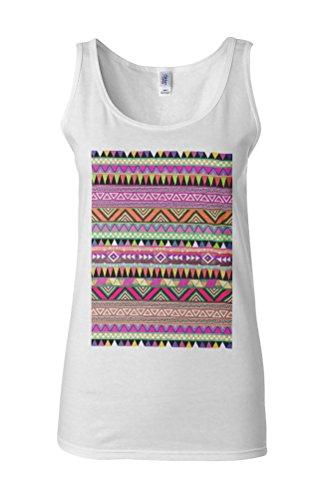 Ethnic Aztec Print Novelty White Femme Women Tricot de Corps Tank Top Vest **Blanc