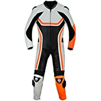 Fluoreszierender Einteiler Motorradkombi Motorrad Lederkombi aus Rindsleder echtleder Kombi Orange, Größe:54