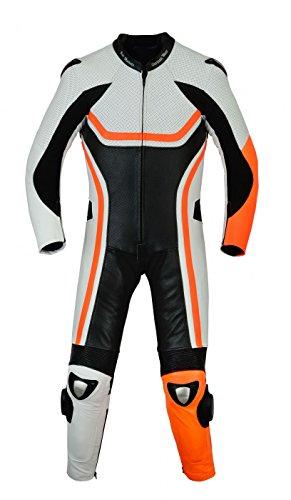 *Fluoreszierender Einteiler Motorradkombi Motorrad Lederkombi aus Rindsleder echtleder Kombi Orange, Größe:54*