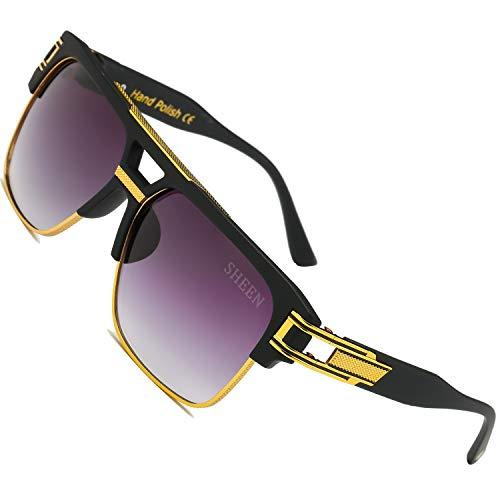 SHEEN KELLY Grand Pilot Sonnenbrillen Retro Square Sonnenbrillen Herren Damen Spiegel Gläser Luxus Brillen Metall Gold UV400 Steampunk Half Frame Verlaufsglas
