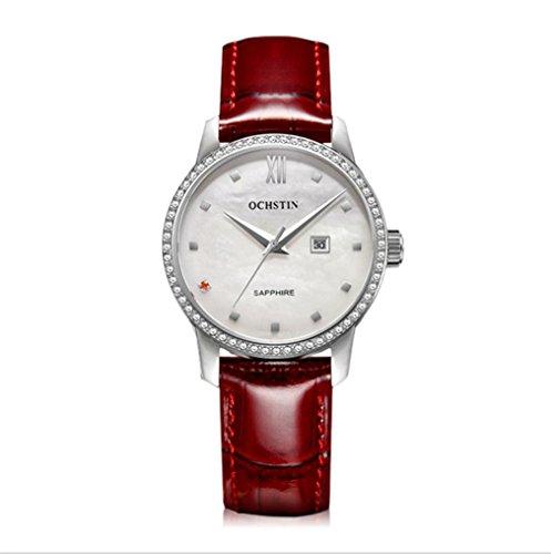 XINLEE Damenuhr Zeiger Display Diamant wasserdichtem Leder Gürtel Quarzuhr, 002 (Braun Gurt Uhr Seiko)