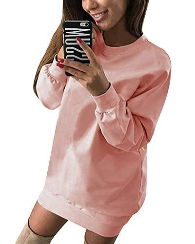 Minetom Damen Langarm Sweatshirt Damen Langarm Hoodies Casual Herbst Kleid Rosa DE 38