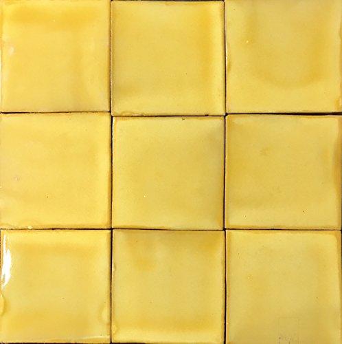 mexicain-talavera-9-pieces-en-ceramique-motif-4-x-4-jaune-delave