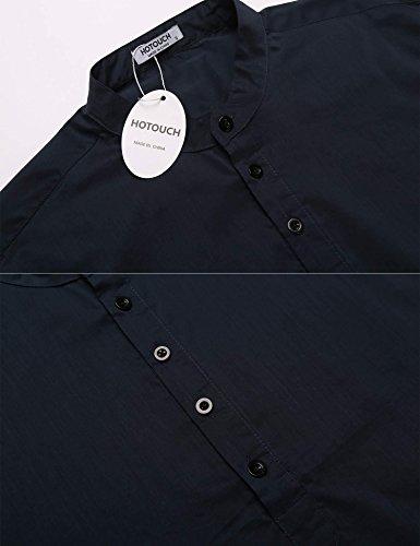HOTOUCH Herren Hemd Langarmhemd Casual Langarmshirt Bügelleicht mit Knopfleiste Typ1_Ultramarinblau
