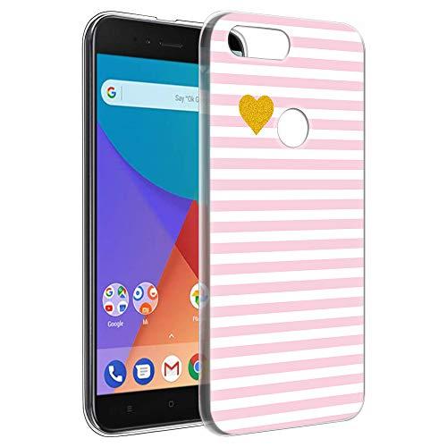 Eouine Funda Xiaomi A1, Cárcasa Ultrafina Silicona 3D Transparente con Dibujos Impresión Patrón [Antigolpes] Housse Fundas para Movil Xiaomi Mi A1 / Xiaomi Mi 5X 2018-5,5 Pulgadas (Raya Rosa)