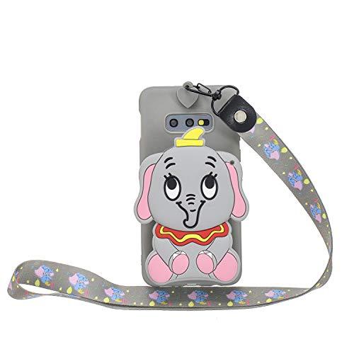 Miagon Silikon Hülle für Samsung Galaxy S10e,3D Süß Brieftasche Lager Tasche Design mit Halskette Kordel Schnur Handykette Necklace Band,Grau Elefant