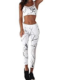 HOMEBABY Women Tank Tops+Pants Set, Ladies 2Pcs Tracksuit Printed Casual T-Shirt Tops Gym Yoga Workout Mid Waist Running Pants 2 Piece Outfit Sport Wear Casual Suit