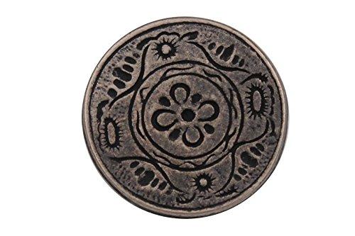 Silber dunkel Metall Knöpfe flach mit Blume Motiv, 15mm oder 25mm, Made in Germany (5 Stück) (25mm)