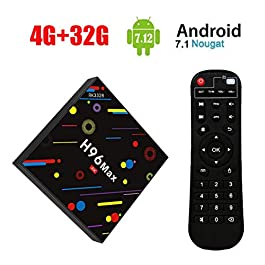 [2018 TV BOX 4GB + 32GB] SINUK H96 MAX H2 Android 7.1 TV Box 4G + 32G RK3328 Quad-Core 64bit Cortex-A53 Smart Set-top box, Support 2.4G/5G Dual Wifi 1000M LAN Ethernet BT4.0/3D/4k/USB3.0