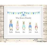 Personalised Peter Rabbit Family Watercolour Premium Print Picture A5, A4 & Framed Options - Design 2