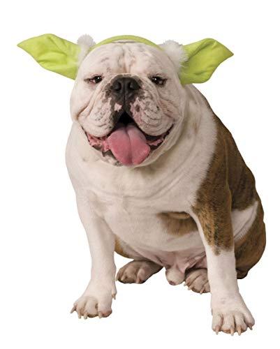 Hunde Kostüm Yoda - Horror-Shop Star Wars Yoda Ohren als Kostüm Zubehör für Hund & Katze S/M