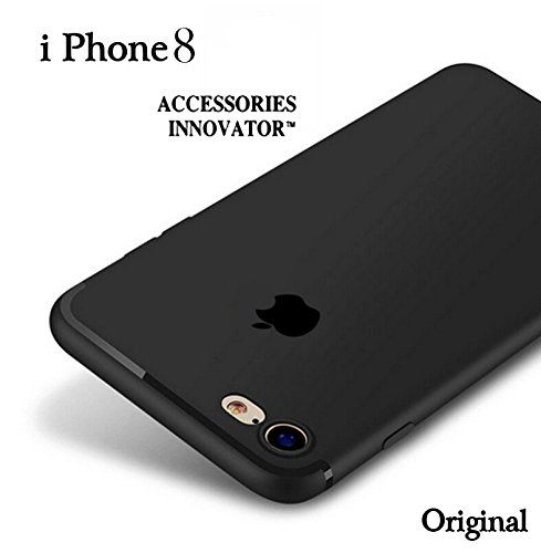 Accessories Innovator Soft Silicone All Sides 360 Degree Protection Apple Logo Cut Back Case for iPhone 8(Black)