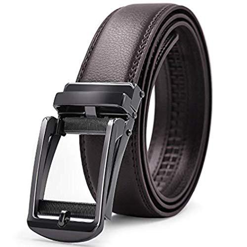 Gürtel Herren Leder 3.5cm Breit Jeansgürtel Anzugsgürtel für Männer Schwarz, Braun Automatik Schnalle Ratchet Buckle Anzug (Braun, 110cm)