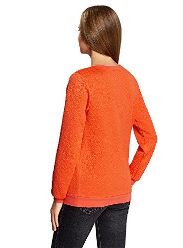 oodji Ultra Femme Sweat-Shirt Droit en Tissu Texturé Orange (5500N)