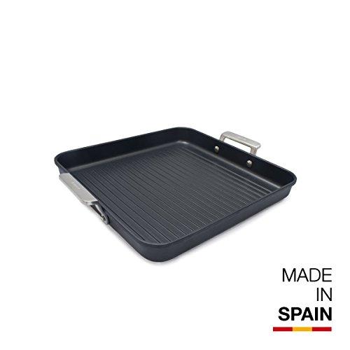 Valira Aire - Grill Premium de 28x28 cm hecho en España, aluminio fundido con antiadherente reforzado, apto para inducción