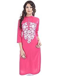 Crazora Women's Pink Embroidery Cotton Kurti