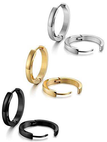 c05c0c156c34 Jstyle Joyería en Acero Inoxidable 3 Pares Pendientes Aro Negro Blanco y  Dorado para Mujer Hombre