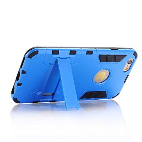 Coque iPhone 6 PLUS/6S PLUS OuDu Housse à Armure en PC et TPU pour iPhone 6 PLUS/6S PLUS Etui Caoutchouc Soft Silicone Frame Case Hard Back Cover Heavy-Duty Dual-Layer Bumper with Logo Cutout Coque Fl Bleu
