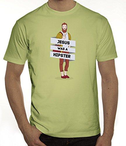 Herren T-Shirt mit Jesus Was A Hipster Motiv von ShirtStreet Limone